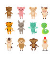 chinese zodiac animals cartoon characters vector image