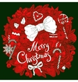 Christmas vignette with decorative items vector image