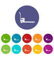 construction trolley icons set color vector image vector image