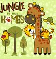cute animals cartoon in jungle