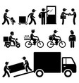 delivery man postman courier post stick figure vector image