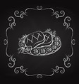 dish with steak icon vector image