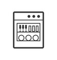 dishwasher machine outline single isolated vector image