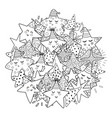 doodle stars circle shape pattern for coloring vector image vector image