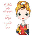 fashion girl with coffee and croissant vector image vector image