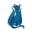 flat blue colored dragon with wings horns vector image vector image