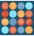 Flat icons - SEO symbols in outline style vector image