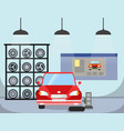 flat tire replacement flat vector image vector image