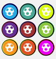 Football icon sign Nine multi colored round vector image