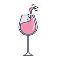 glass splashing wine icon vector image vector image
