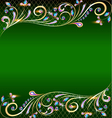 green background with jewels vector image vector image