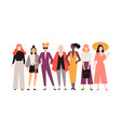 group adorable women dressed in trendy clothes vector image