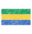 hand drawn national flag of gabon isolated on a vector image vector image