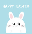 happy easter white bunny rabbit head face funny vector image