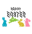 happy easter with cute bunny rabbits line art vector image