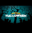 happy halloween banner with cemetery vector image