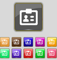 ID Identity card icon sign Set with eleven colored vector image vector image