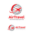 Jet aircraft with globe symbol for travel agency