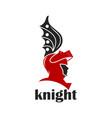 knight warrior helmet logo vector image vector image