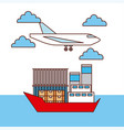 logistic transport airplane and ship boxes and vector image vector image