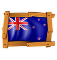 new zealand flag in wooden frame vector image vector image