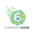 number six logo blue green yellow particles vector image vector image