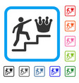 person steps to crown framed icon vector image vector image