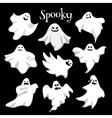 Scary white ghosts design on black background vector image vector image