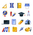 school supplies stationery tools backpack and vector image