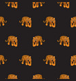 seamless pattern with tigers on black vector image vector image