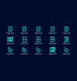 set initial letter b abstract logo design vector image vector image