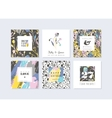 Set of abstract creative cards Hand drawn art vector image