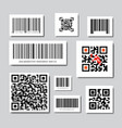 set of bar and qr codes for scanning icons vector image