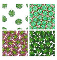 set of four patterns with palm leaves vector image