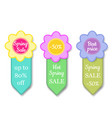 set of spring sales labels - price tag with vector image