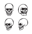 Set of vintage style skulls in four view plans vector image vector image