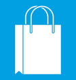 shopping bag icon white vector image vector image