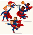 super daddies playing with sons flat set vector image vector image