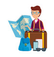 tourist man with paper map and travel icons vector image vector image