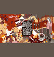two girls over coffee cup background break vector image vector image