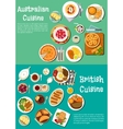 Typical dishes of british and australian cuisine vector image vector image