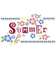 with lettering of summer with flowers vector image vector image
