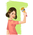 Woman paints the wall vector image vector image