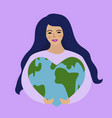 world environment day and earth day girl holding vector image