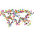 World map with confetti vector image vector image