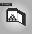 black and white style icon gold bars in a safe vector image