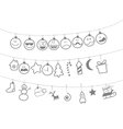Drawn Christmas toys that hang on strings vector image