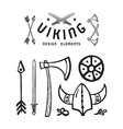Viking design elements in hand drawn style vector image