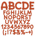 alphabet letters numbers from wooden boards vector image vector image