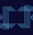 art deco frame vintage linear border blue color vector image vector image